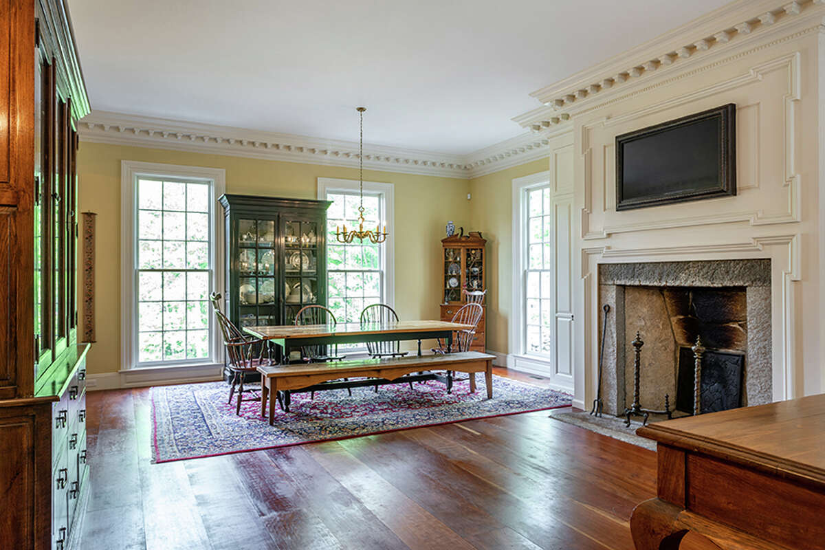 The kitchen in the 92 JuddsBridge Road property in Roxbury, Conn. has a sitting area just off the kitchenisland.