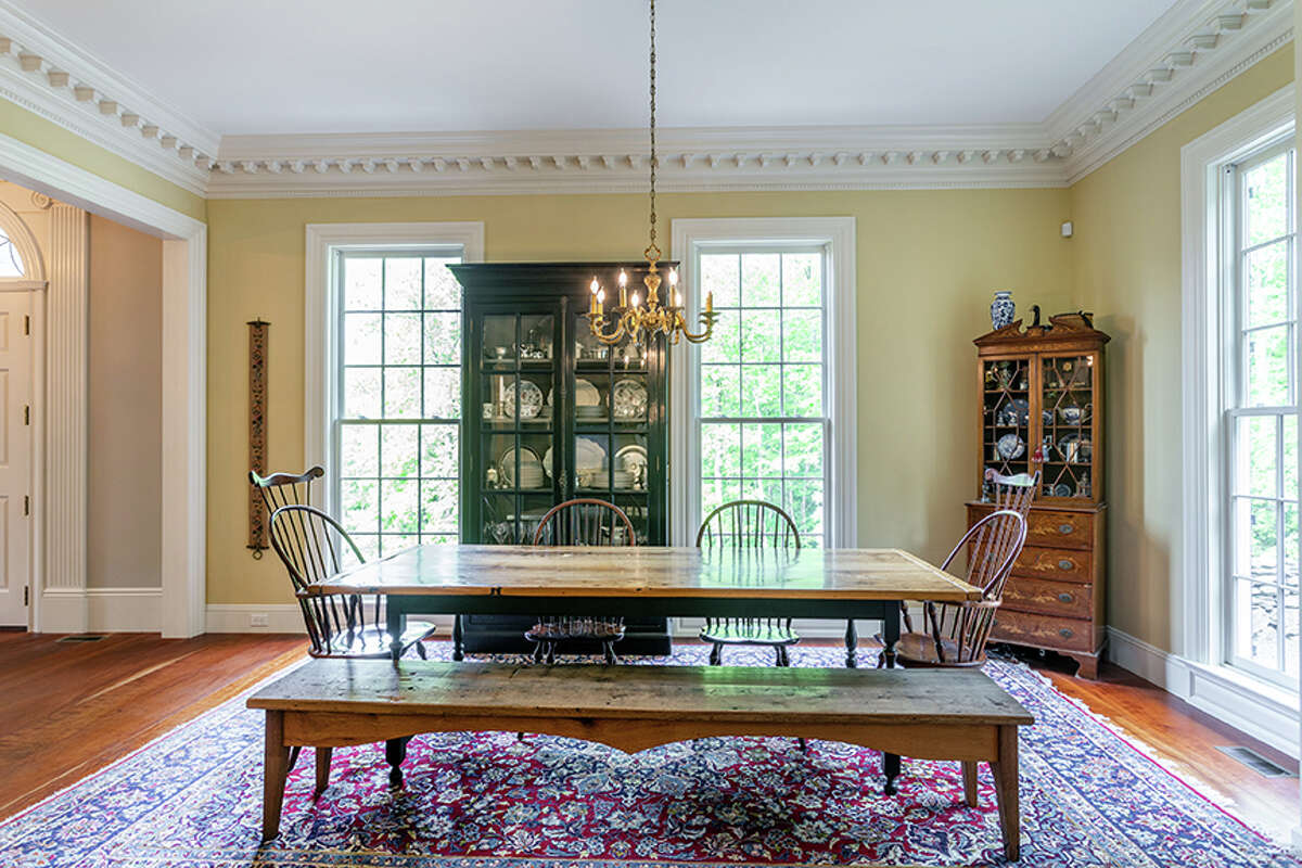 The dining room in the home on 92 Judds Bridge Road in Roxbury, Conn. features