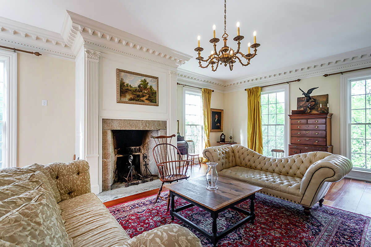 The living room in the 92 Judds Bridge Road property in Roxbury, Conn. features