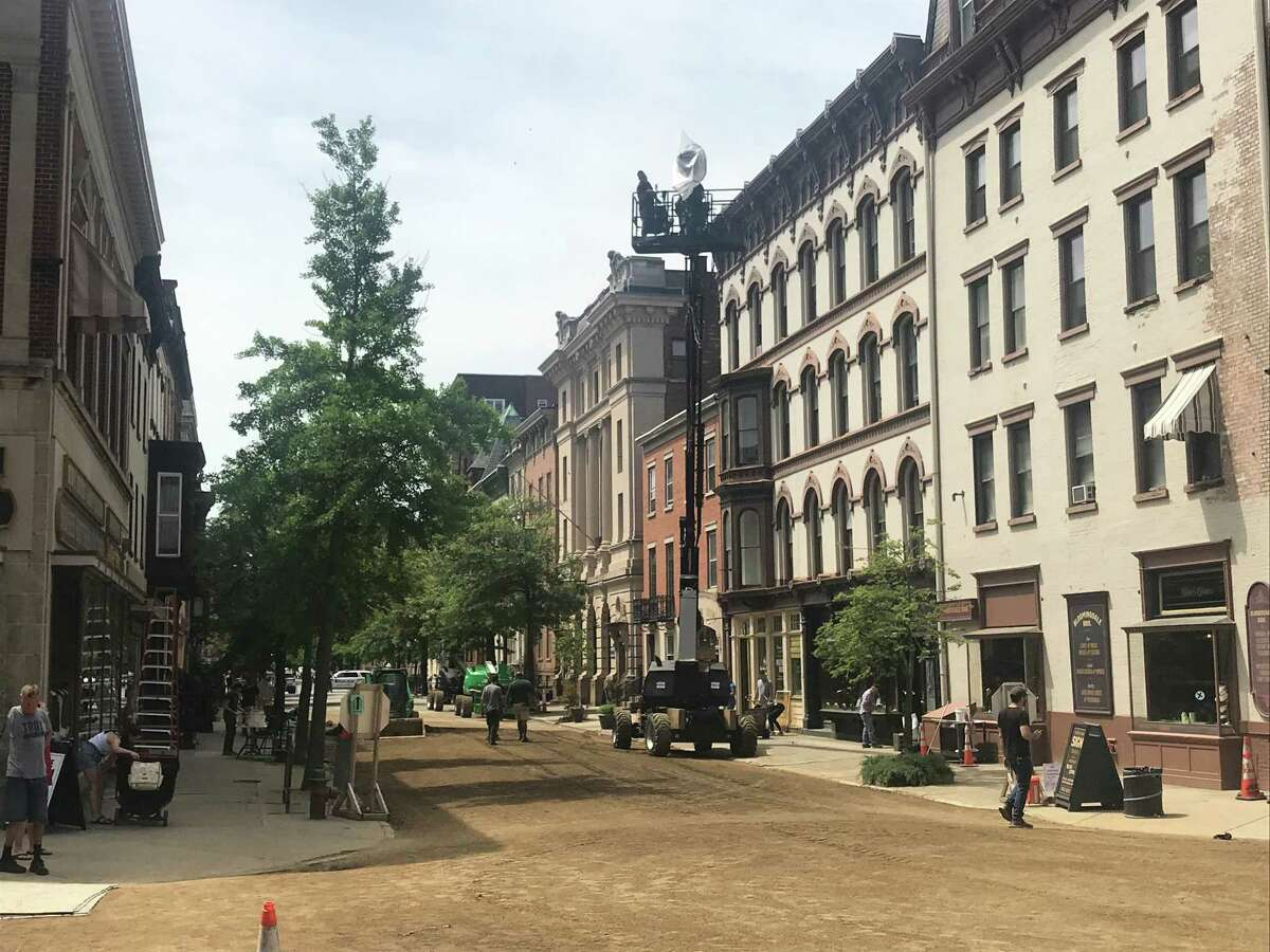 """HBO films """"The Gilded Age"""" June 2, 2021, in downtown Troy, N.Y. (Jim Franco/Special to the Times Union)"""