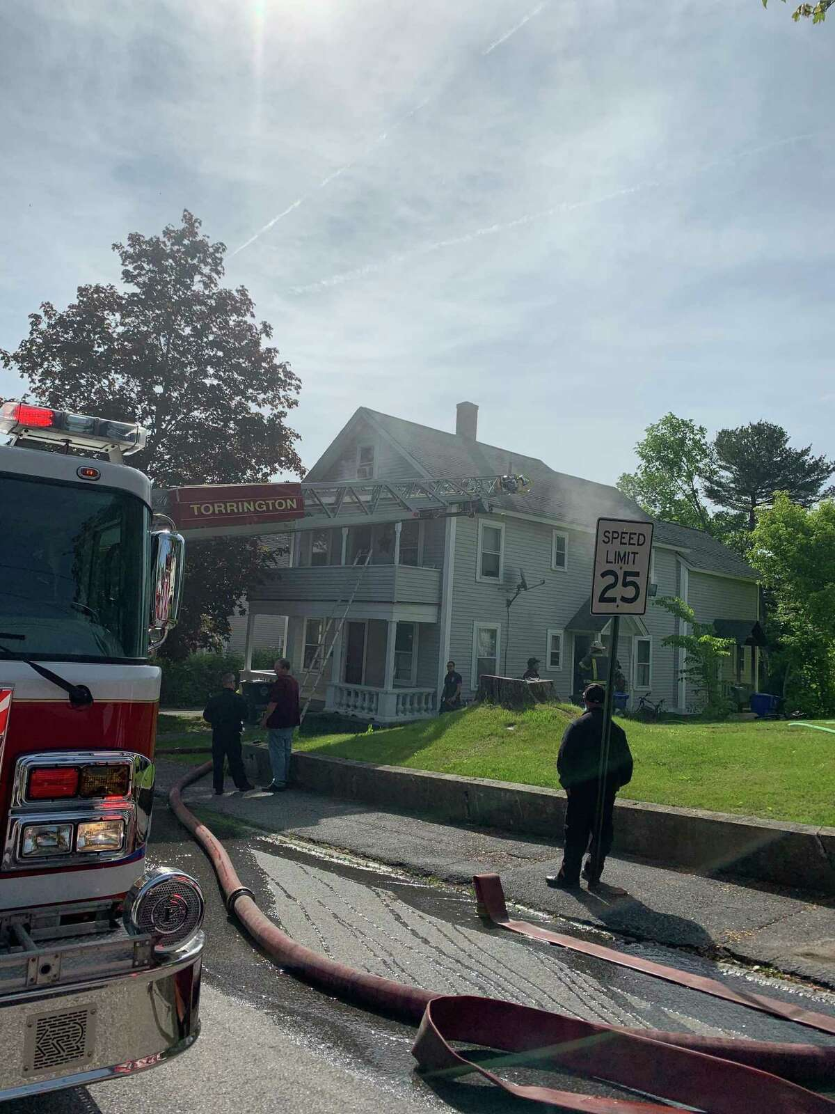 Torrington firefighters responded to a fire at a house on Hoffman Street Wednesday morning.