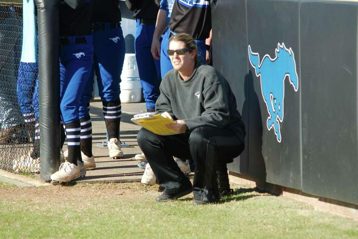 Friendswood softball coach Christa Williams watches as her team plays Deer Park Thursday, Feb. 27 at Friendswood High School.