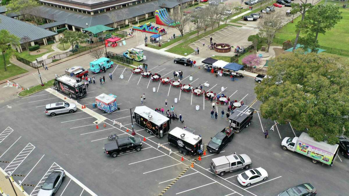 A drone shot of 2020's Food Truck Rodeo