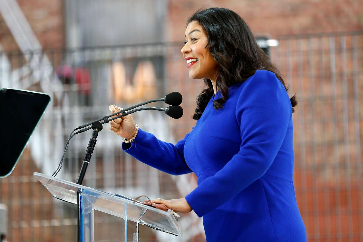 """San Francisco Mayor London Breed unveils her two-year budget proposal at Willie """"Woo Woo Wong Playground in Chinatown neighborhood of San Francisco, Calif., on Tuesday, June 1, 2021."""
