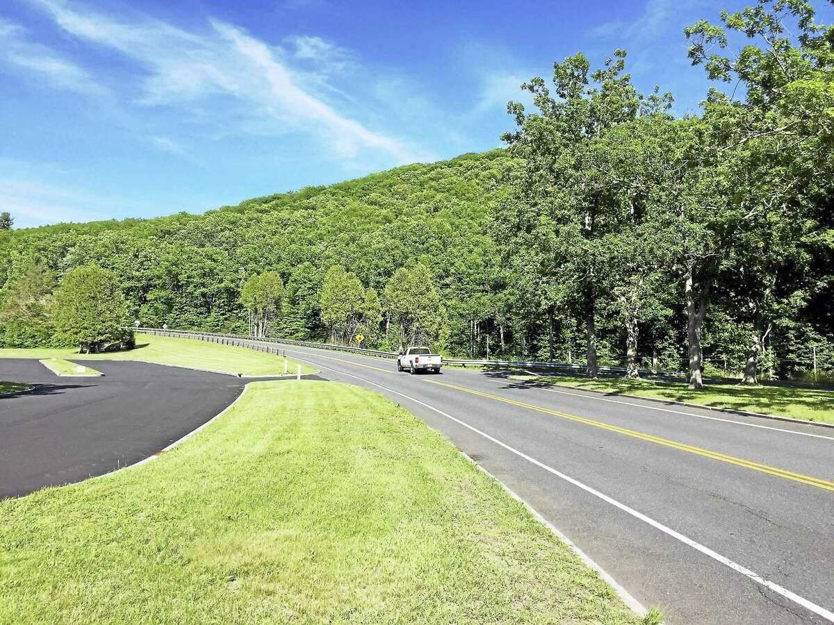 The intersection of Route 318 and Route 219 near the Saville Dam in Barkhamsted, where a milling and repaving project has begun.