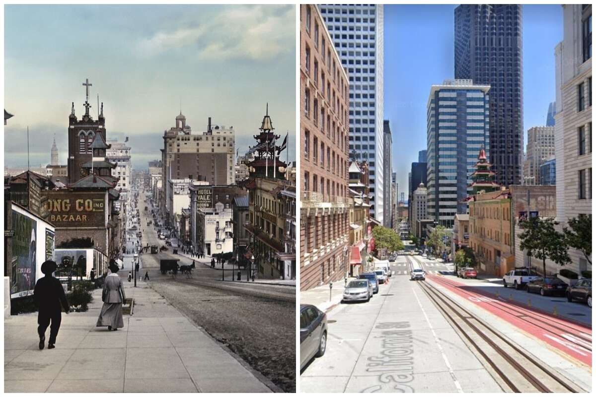 Looking at California and Grant in 1915 and today.
