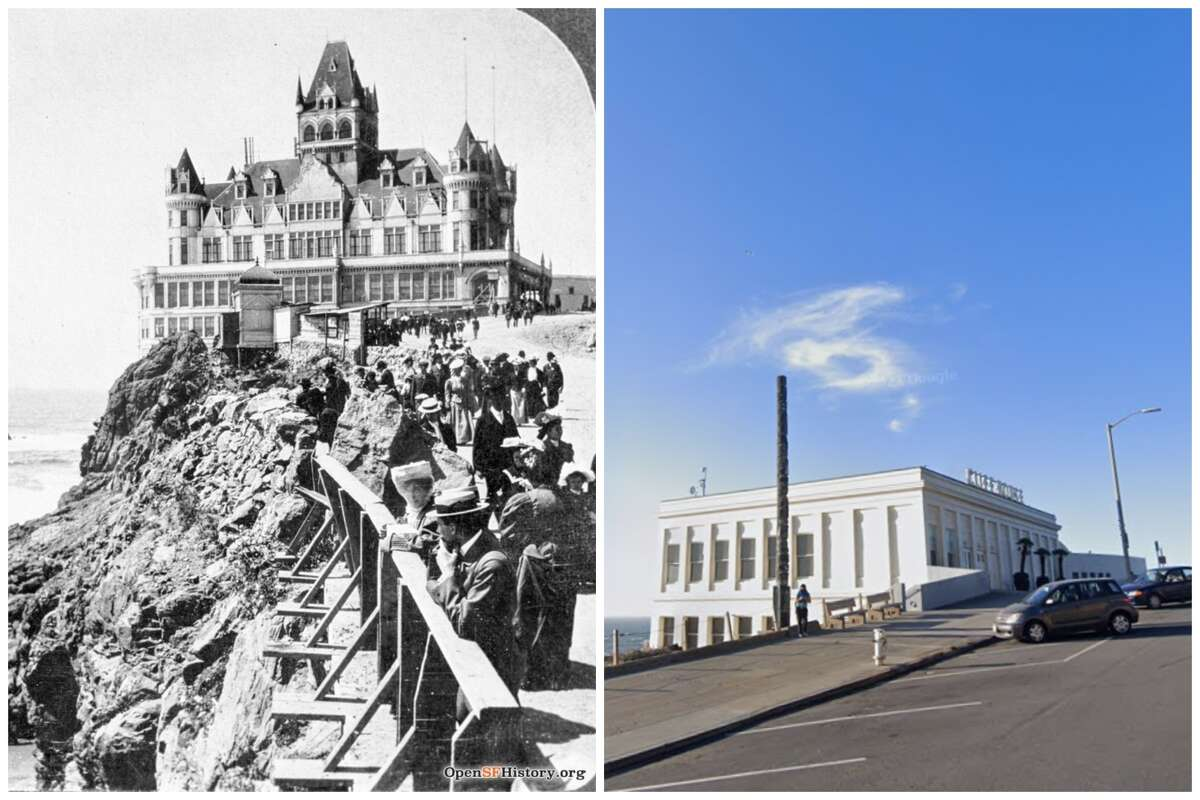The Cliff House in the early 1900s compared to today.