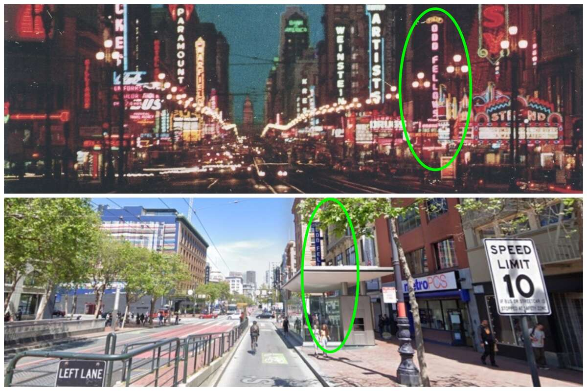 A view of Market and 7th from 1959 and today. Circled in green is the Odd Fellows Temple.