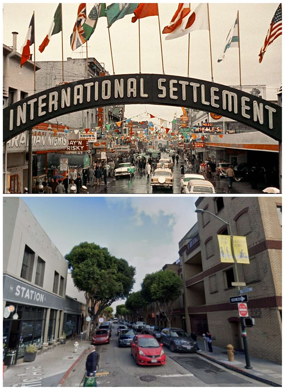 Pacific Avenue in Kearny 1957 and today.