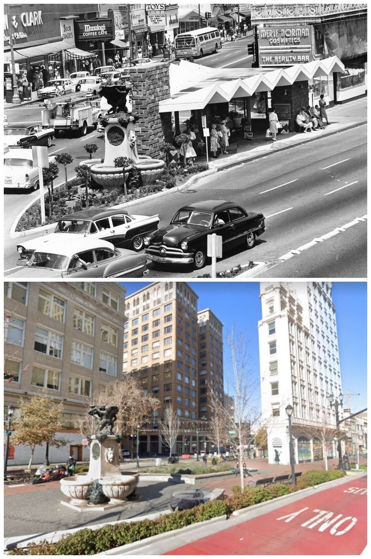 Latham Square in downtown Oakland where the Telegraph and Broadway intersect.  The archive photo was taken in 1961.