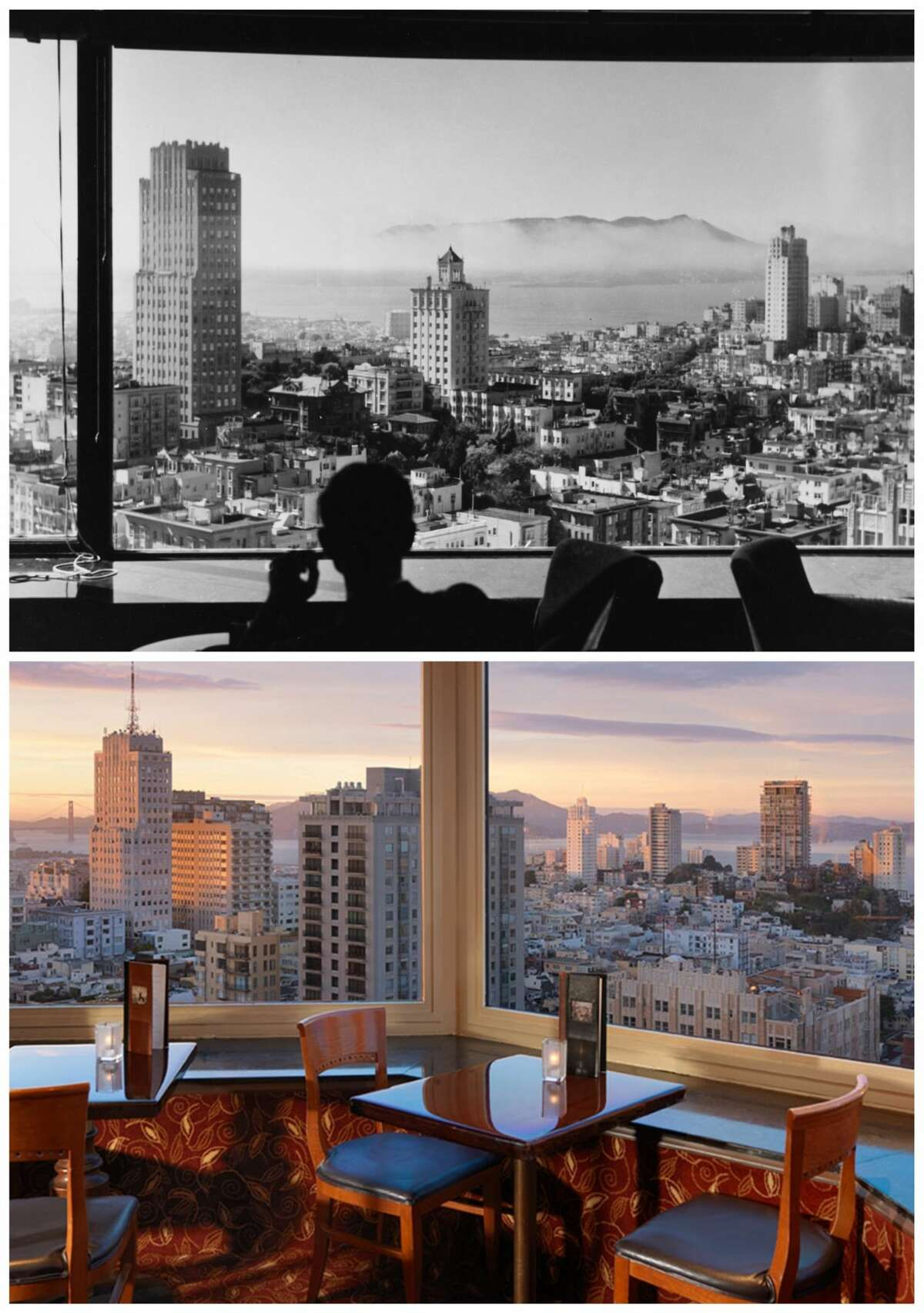 The view from the Top of the Mark in the 1940s and today.