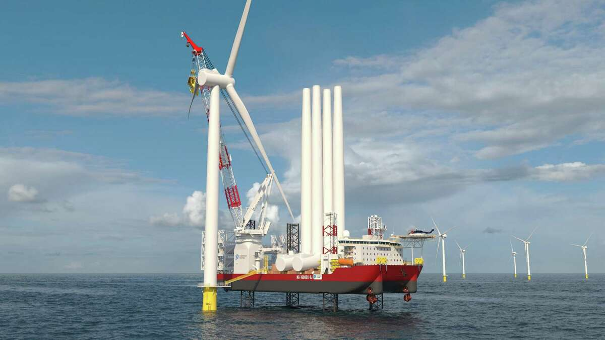 An artist's rendition of what the vessel that will be used to develop a pair of wind farms off the coast of Connecticut, Rhode Island and Montauk Point on Long Island, N.Y.