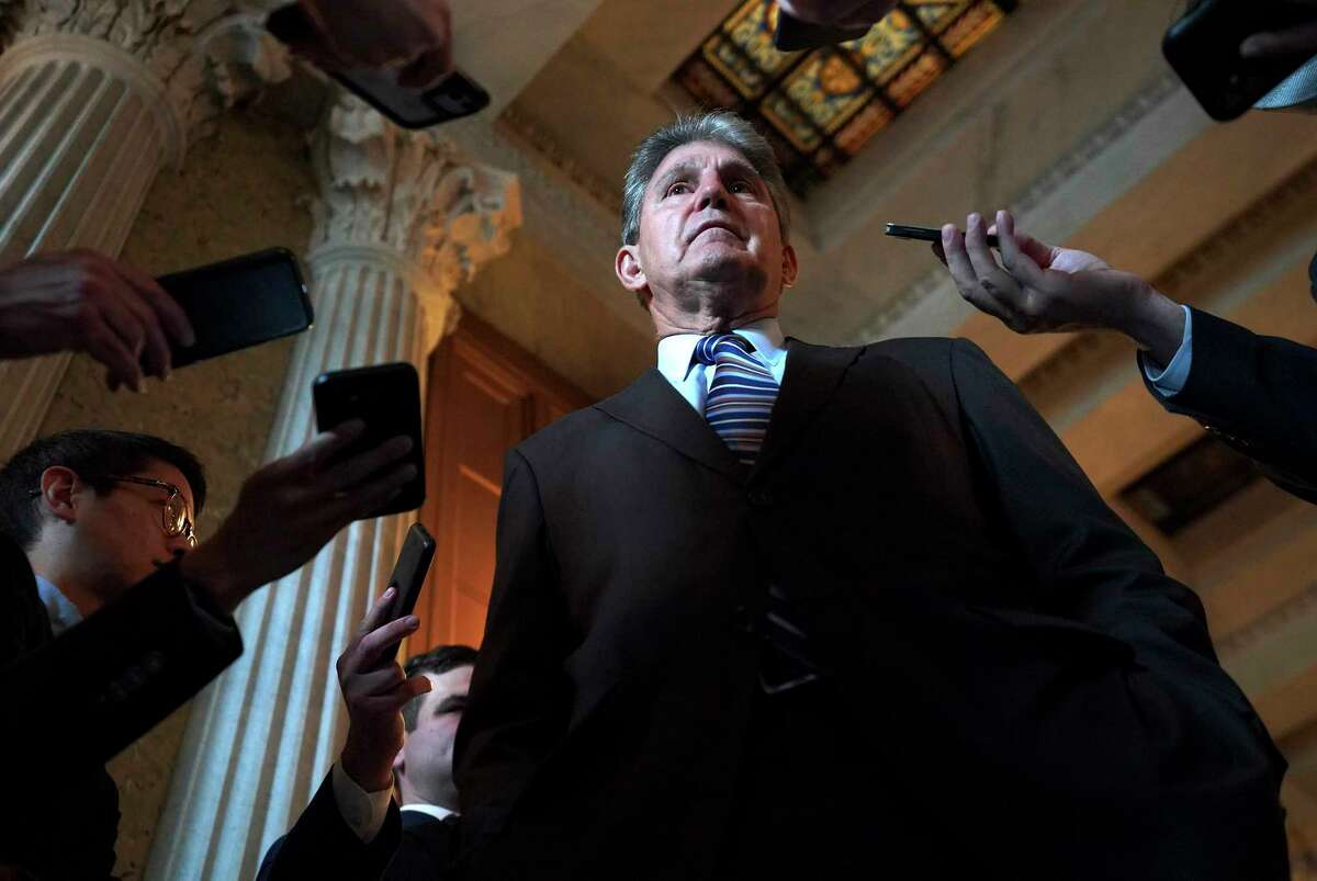 Sen. Joe Manchin III, a Democrat from West Virginia, speaks with reporters last month after the GOP blocked the formation of a commission on the Jan. 6 riot at the Capitol.