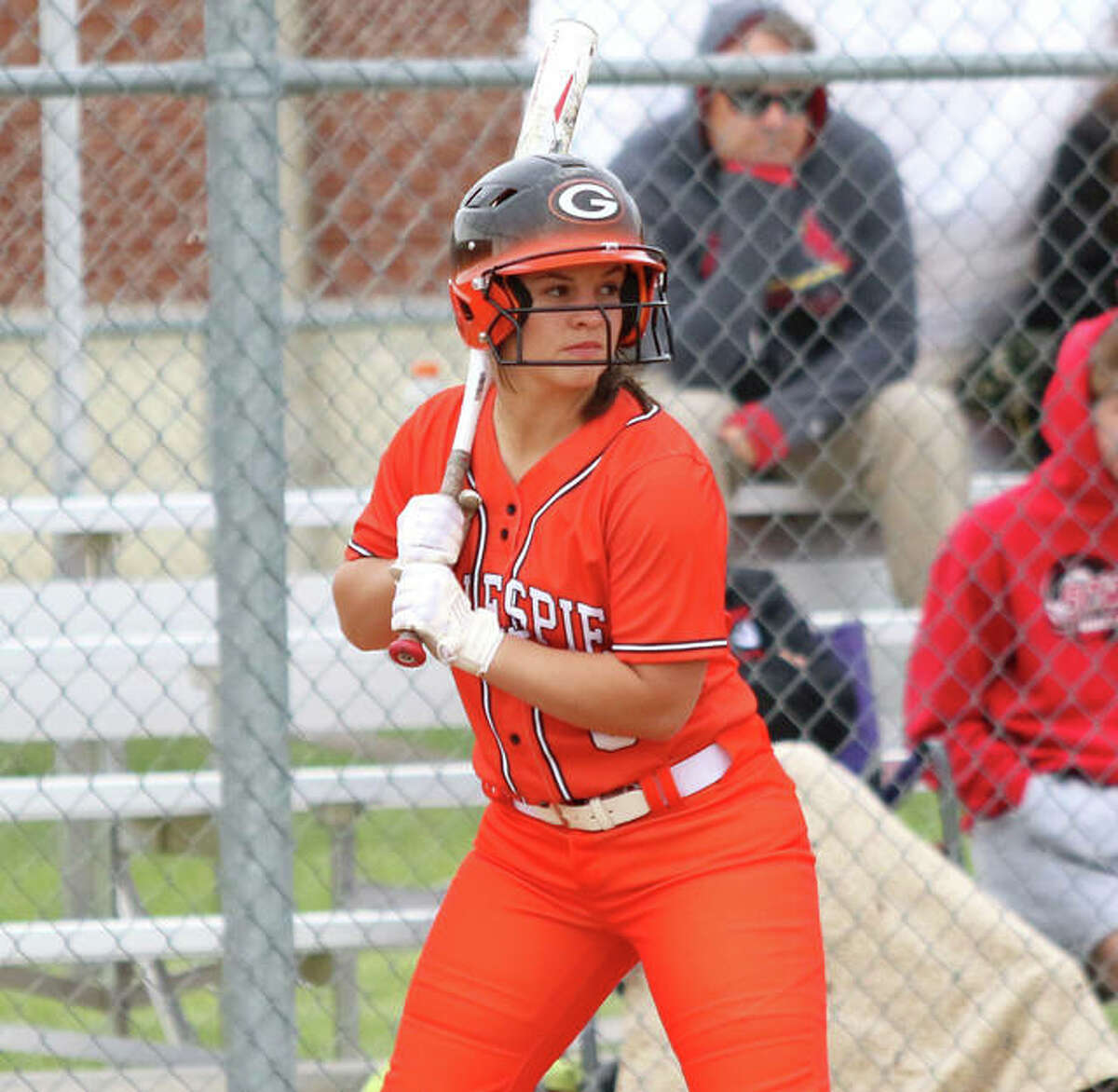 Gillespie shortstop Chloe Segarra, shown hitting in a game earlier this season in Gillespie, drove in two runs Tuesday in a win at Breese Mater Dei that gave the Miners their 20th win of the season.