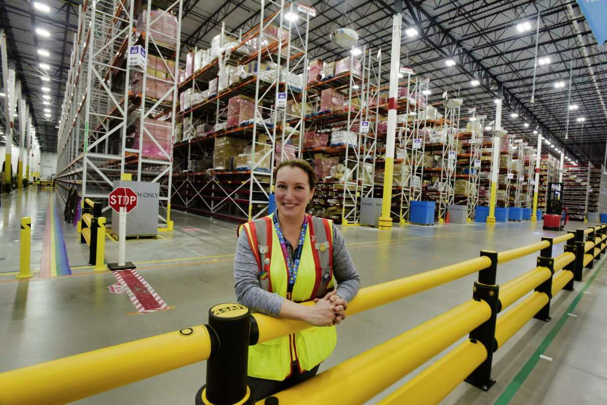Karen Coombs, general manager of the Amazon fulfillment center, poses for a photo on Wednesday, June 2, 2021, in Schodack, N.Y. (Paul Buckowski/Times Union)
