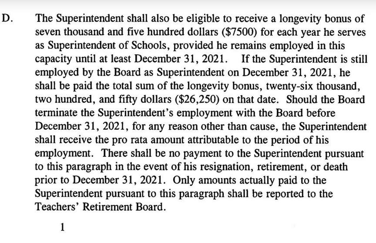 A clause in the Litchfield and Region 6 school superintendent's contract, showing part of the longevity bonus promised him if he remains in the district past December.