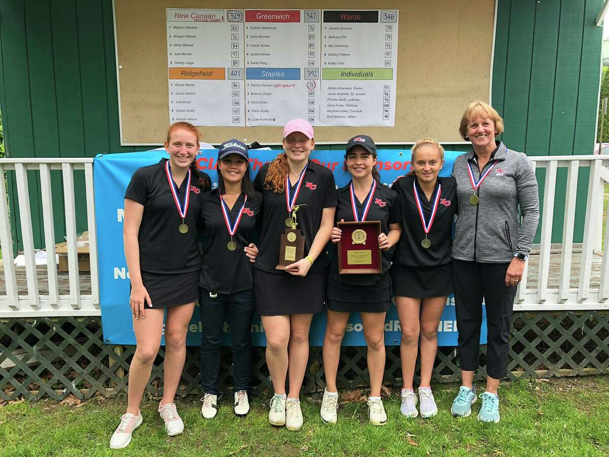 The New Canaan girls golf team after winning the 2019 FCIAC championship at Fairchild Wheeler Golf Course. From left are Molly Mitchell, Julia Bazata, Meghan Mitchell, Morgan Hibbert, Stirling Legge and head coach Priscilla Schulz. Bazata, Legge and Molly Mitchell have helped lead the Rams to a 13-0 record this season.