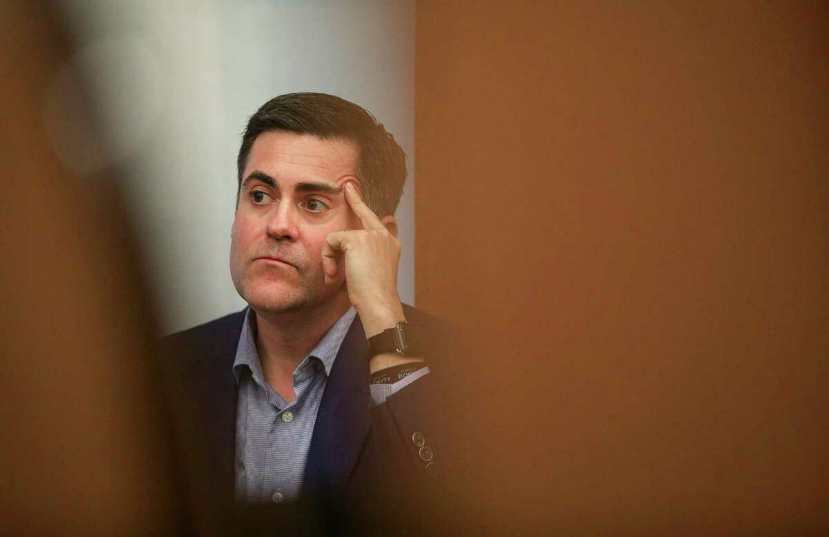 Russell Moore, president of the Ethics and Religious Liberty Commission, listens to a question from a reporter on Thursday, Oct. 3, 2019, in Grapevine.