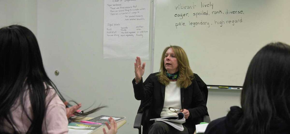 Colleen Jewell, the ELL Coordinator for the school district, teaches ESL 4 at New Milford High School, Friday, February 28, 2020, in New Milford, Conn.
