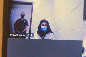Stephanie Fonda appears in Superior Court in New Britain, Conn, via video Wednesday afternoon, June 2, 2021.