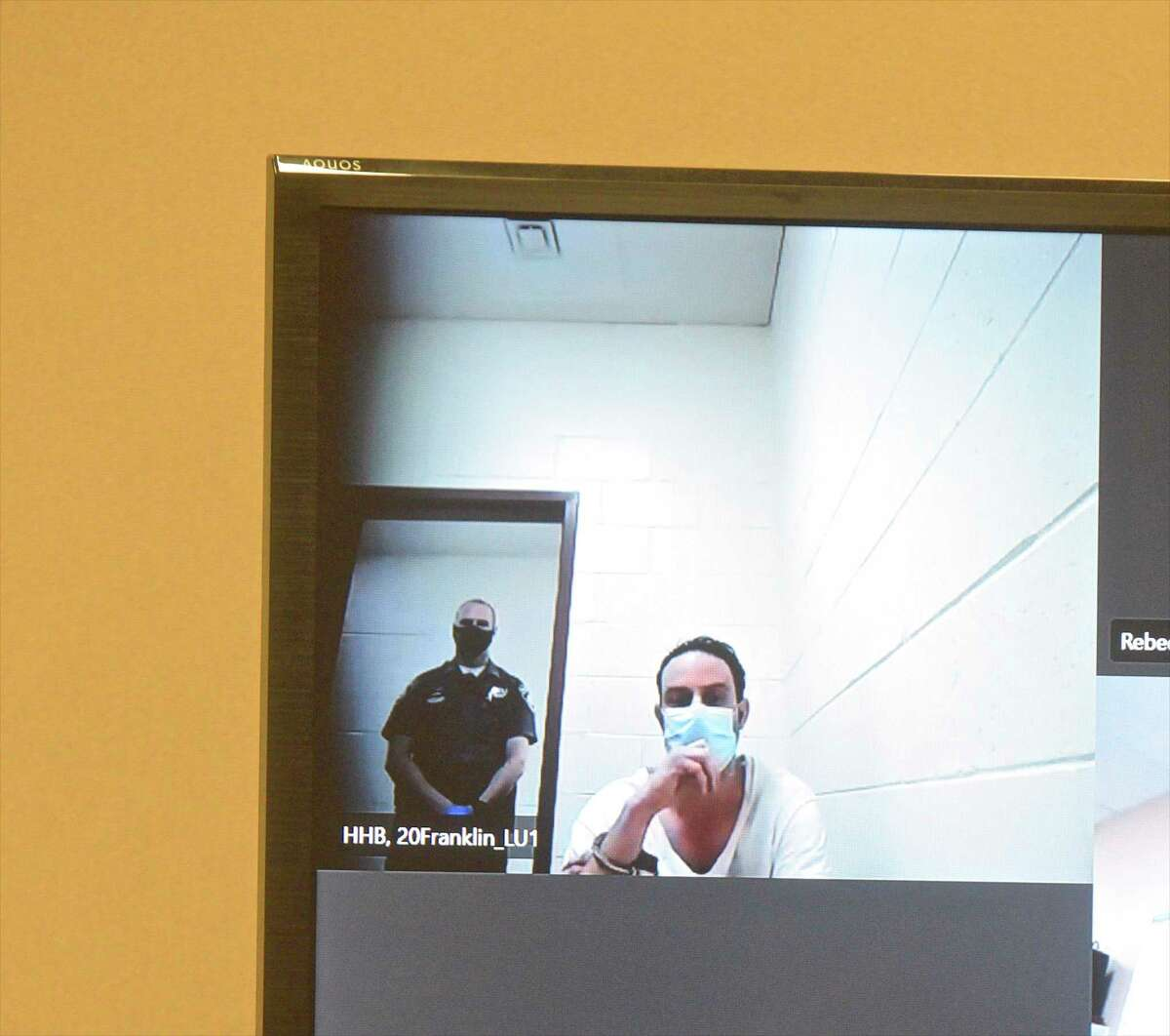 David Fonda appears in Superior Court in New Britain, Conn, via video, Wednesday afternoon, June 2, 2021.