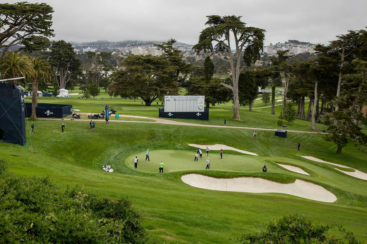 Golfers on the 18th hole during a practice round for the U.S. Women's Open at the Olympic Club, Wednesday, June 2, 2021, in San Francisco, Calif.