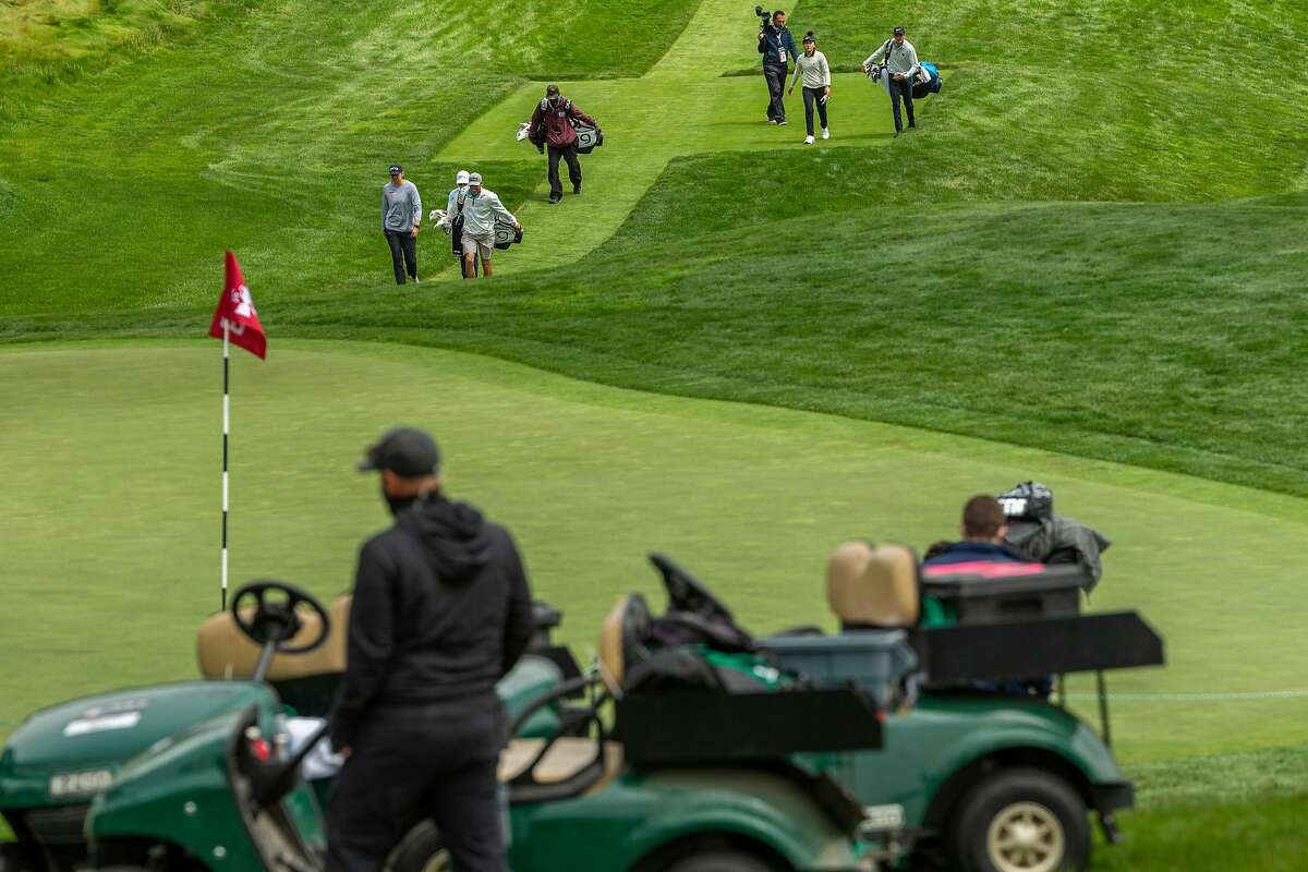 Golfers approach the eighth green during Wednesday's U.S. Women's Open practice round at the Olympic Club.
