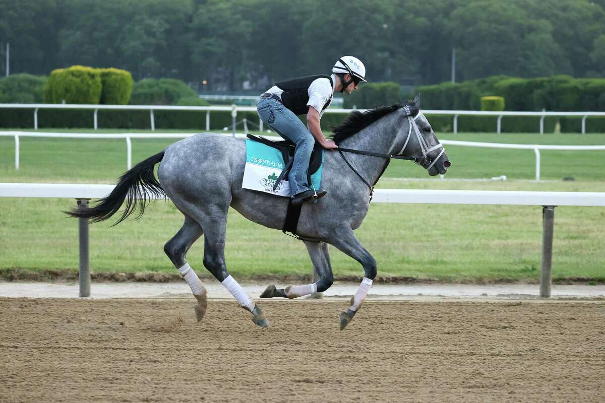 ELMONT, NEW YORK - JUNE 02: Essential Quality gallops with Assistant Trainer Dustin Dugas up during a morning workout prior to the 153rd running of the Belmont Stakes at Belmont Park on June 02, 2021 in Elmont, New York.