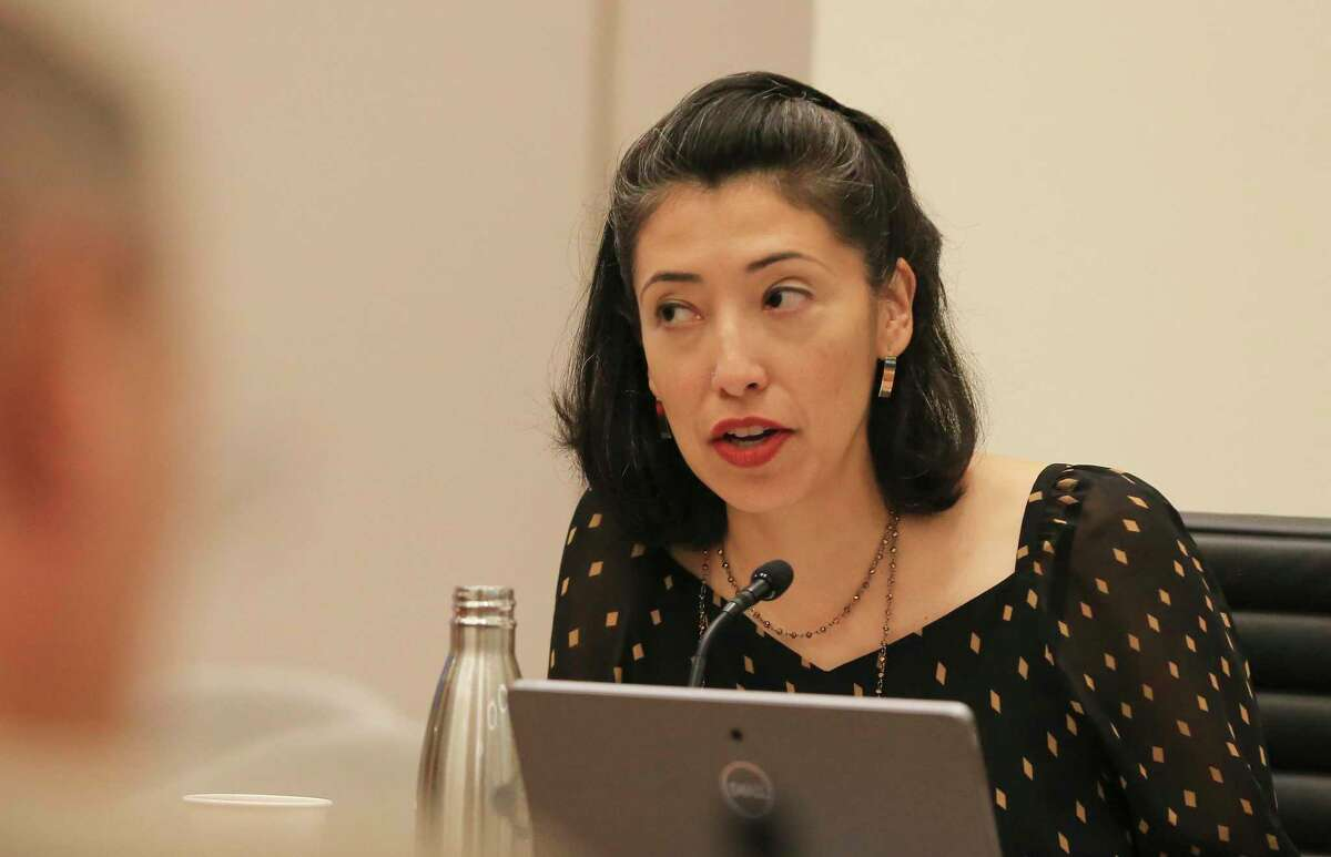 """District 7 Councilwoman Ana Sandoval speaks as City Council meets for the """"B"""" Session meeting in their newly renovated City Hall complex to discuss the allocations for the $326 million in expected federal stimulus dollars on Wednesday, June 2, 2021."""