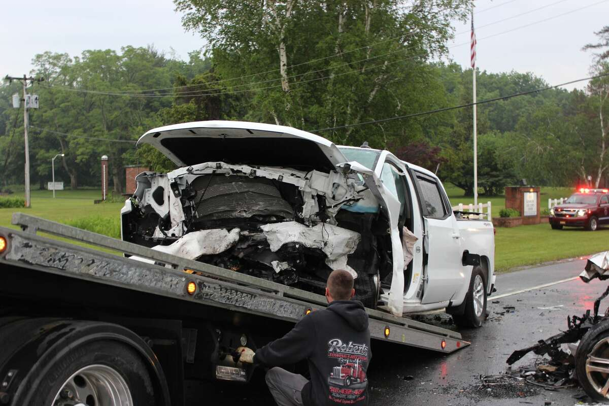 One of the vehicles involved in a head-on crash on River Road in Bethlehem June 2, 2021.