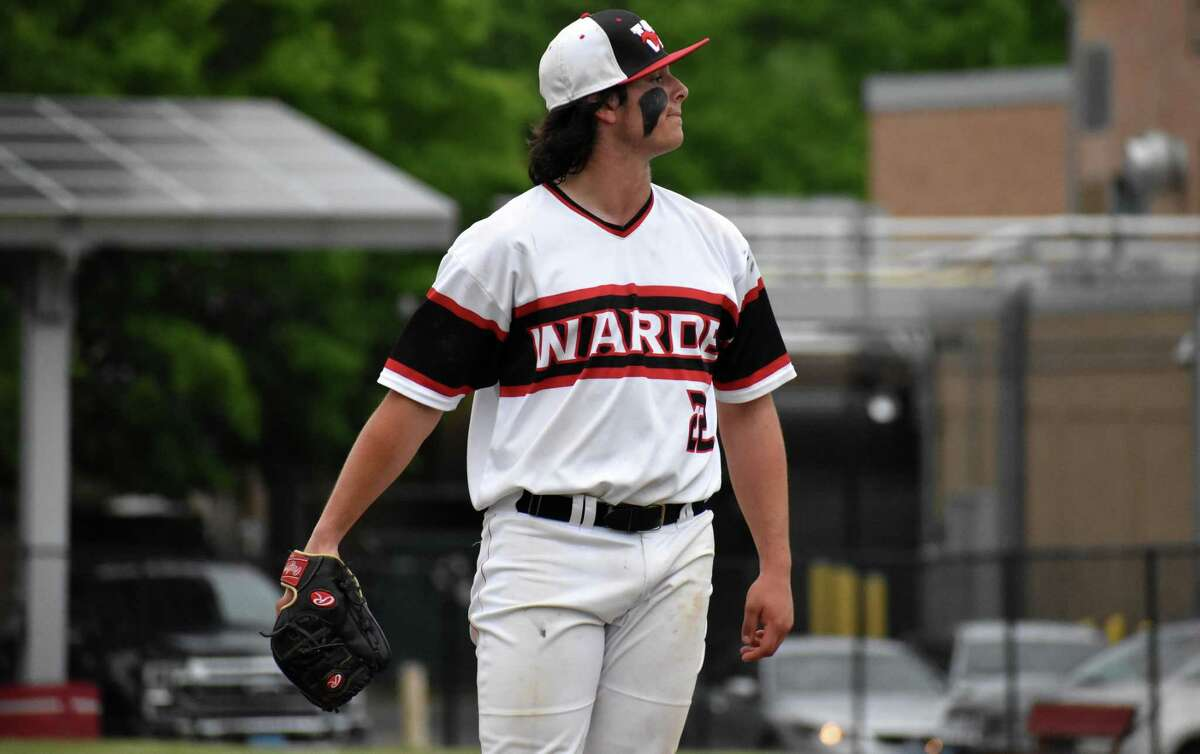 Fairfield Warde's Zach Broderick stares down the Shelton dugout after striking out a batter in the top of the eighth inning of the Class LL second round baseball game between Fairfield Warde and Shelton at Fairfield Warde high school on Wednesday, June 2, 2021.