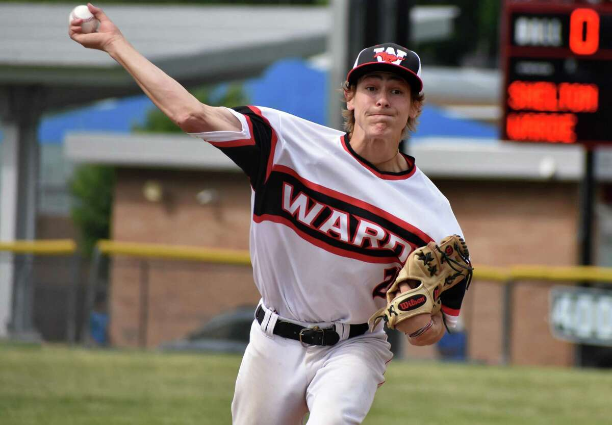 Fairfield Warde's Griffin Polley pitches during a Class LL second-round game against Shelton on June 2.
