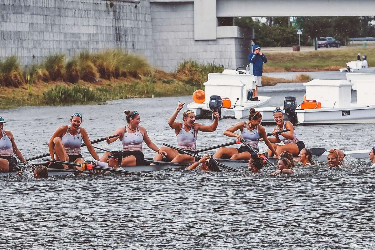 Anna Jensen (middle, hands raised) celebrates her team's victory in the 1V8 final at the NCAA Championships last week in Florida.