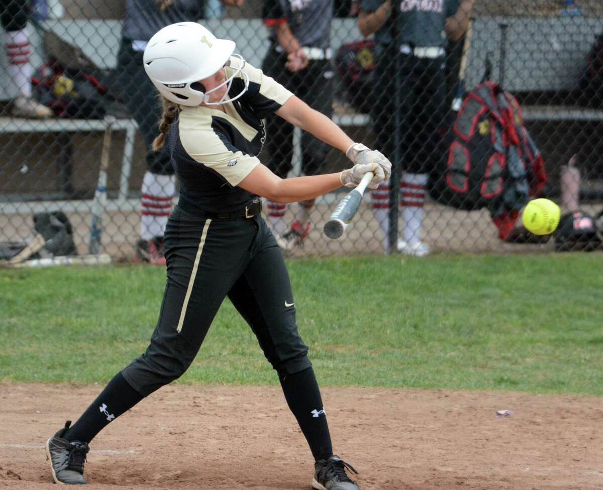 Trumbull's Kiley Barbagallo bats against Cheshire during a second-round Class LL softball game on Wednesday in Cheshire.