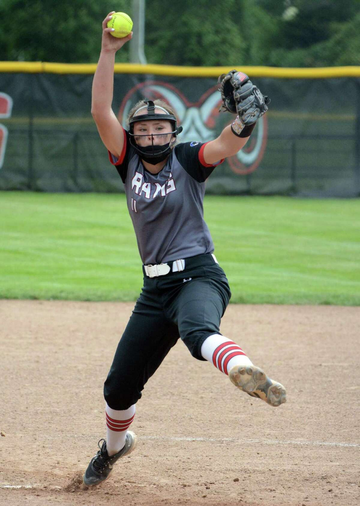 Cheshire's Bri Pearson pitches against Trumbull during a second-round Class LL softball game on Wednesday in Cheshire.