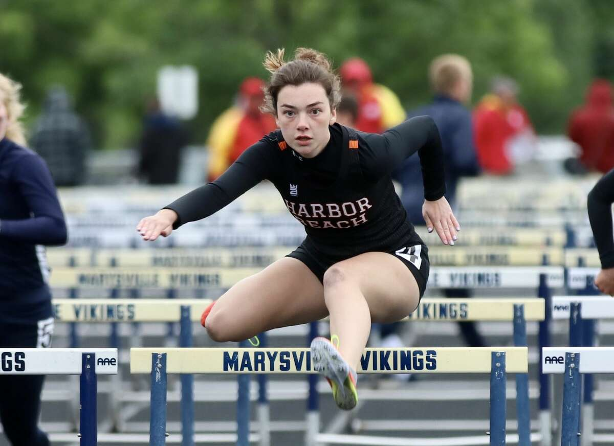 Track teams from Deckerville, harbor Beach competed at the 2021 Blue Water Meet of Champs at Mayville High School on Friday. Above, Harbor Beach's Makara Kramer runs in the 100 meter hurdles.