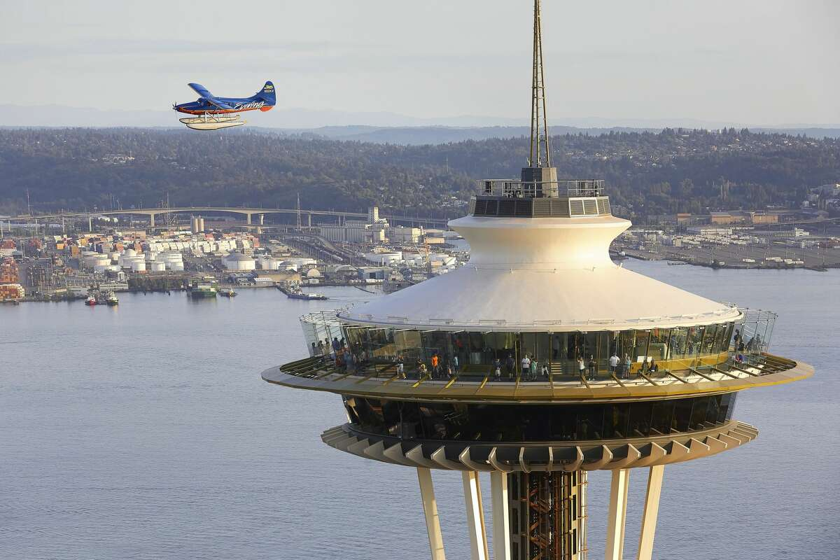 Saucer shaped top house from the air with aeroplane. Space Needle, Seattle, United States. Architect: Olson Kundig, 2020. (Photo by: View Pictures/Hufton+Crow/Universal Images Group via Getty Images)