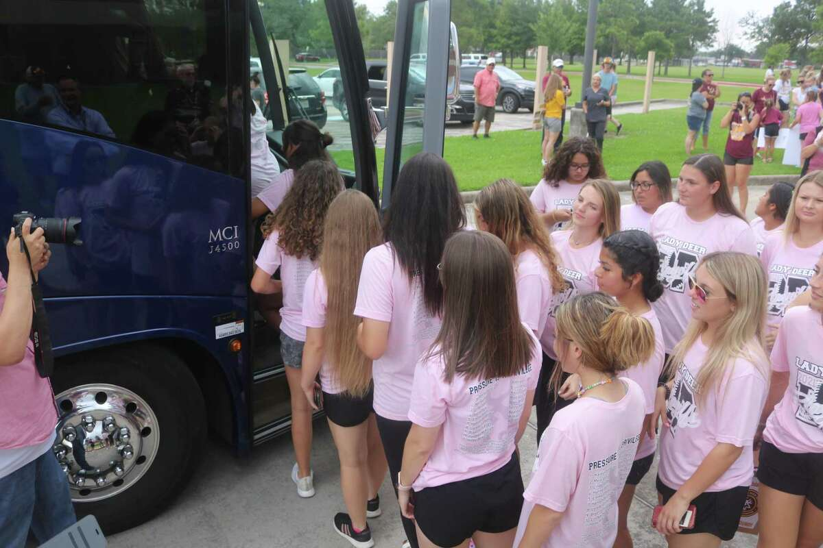 The Region III champions begin boarding their chartered bus for the trip to Austin Wednesday afternoon, following a pep rally in front of Deer Park High School.