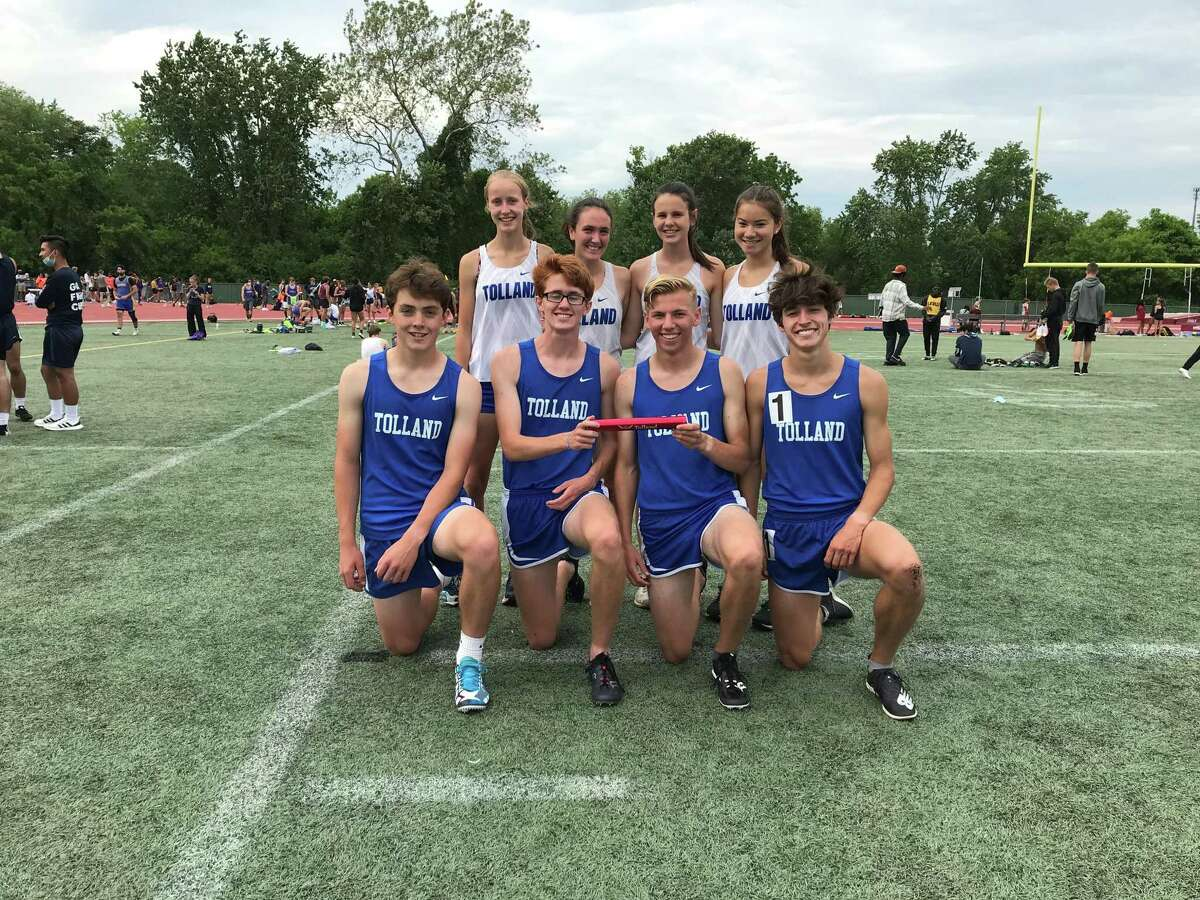 Tolland girls and boys 4x800 relay teams earned titles. Lillian Byam, Peyton Bornstein, Isabelle McNamee and Calista Mayer ran a 9:41.28 out of the sixth seed (10:24.69). Dalton Peters, Noah Linton, Tyler Nickels and Jackson Cayward won in 8:11.96 (seed 8:06.89).