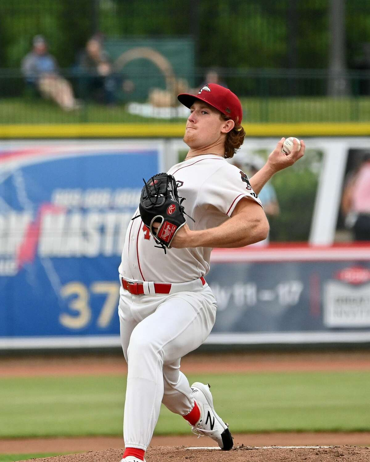 Loons starting pitcher Clayton Beeter pitches against the West Michigan Whitecaps on June 2 at Dow Diamond (Great Lakes Loons/Robert Spears)