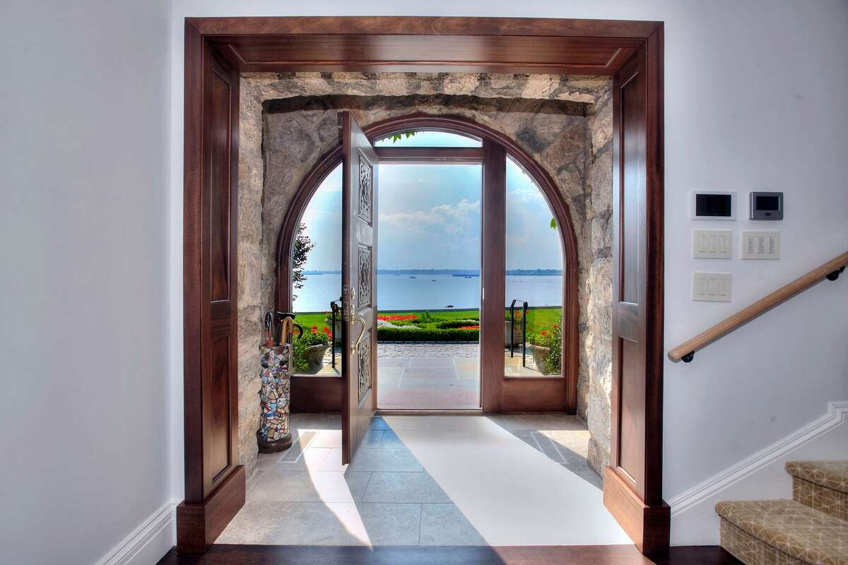 The entry to the home on 123 Saddle Rock Road in Stamford, Conn. has a direct view of Long Island Sound and the Manhattan Skyline.