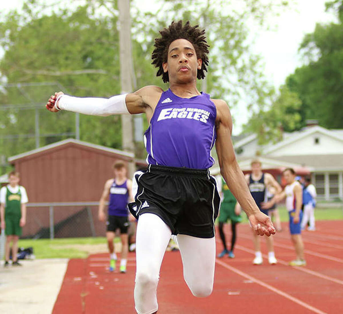 CM's Jordan McMurray, shown in the long jump at the May 17 Madison County Meet in Wood River, placed second in the long jump and third in the triple jump Wednesday at the MVC Meet in Troy.