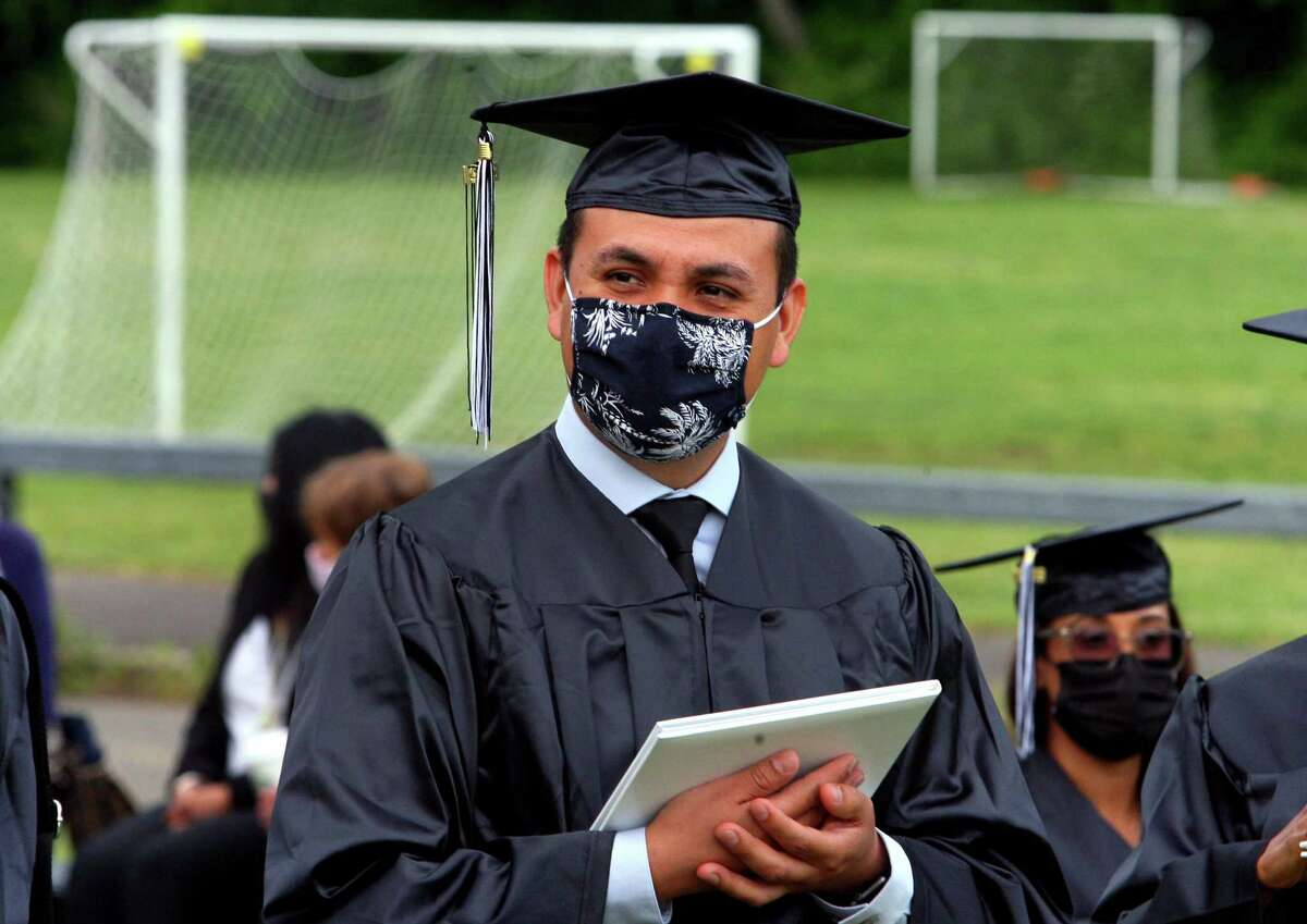 Graduate Juan Carlos Guzman attends Stamford Public Schools Adult & Continuing Education's Class of 2021 Graduation at The Academy of Information Technology & Engineering (AITE) in Stamford, Conn., on Wednesday June 2, 2021.