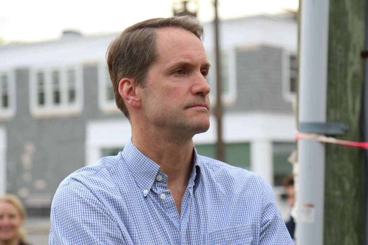"""U.S. Congressman Jim Himes was in attendance but did not speak at the """"Standing Together Against Anti-Semitism"""" rally on Jesup Green in Westport on Wednesday, June 2, 2021."""