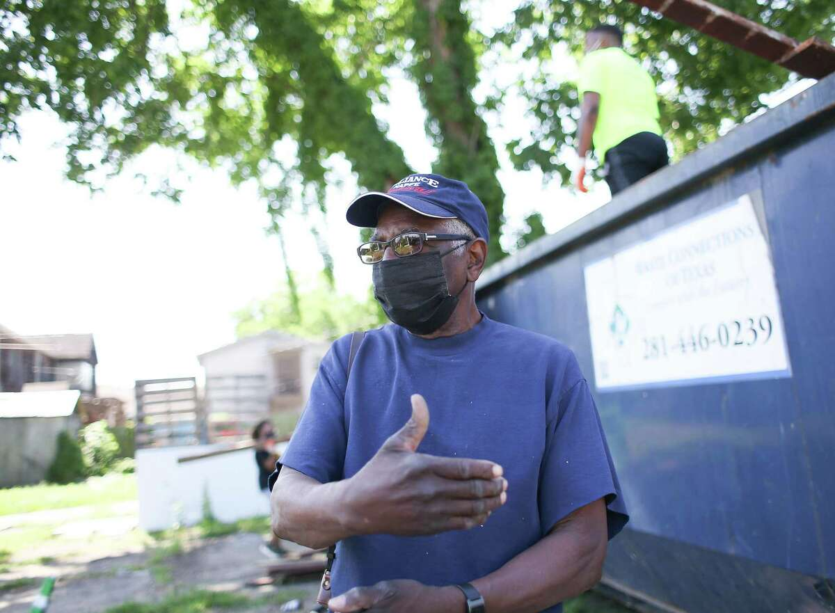 Marvin Blackman talks about the historical significance of the property in Houston's Third Ward neighborhood as volunteers clear it out to make way for a park on Saturday, April 24, 2021.