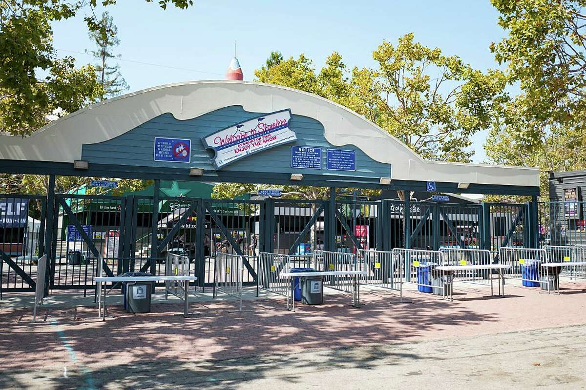 Entry gates at the Shoreline Amphitheatre, a popular concert venue in Mountain View, California, August 24, 2016.
