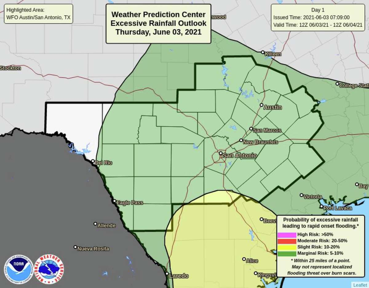 San Antonio and the Hill Country are expected to have a wet couple of days as the National Weather Service predicts heavy rainfall and storms.