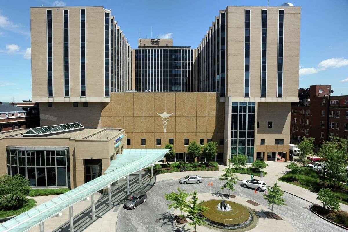 Exterior of Bridgeport Hospital, in Bridgeport, Conn. June 22, 2017.