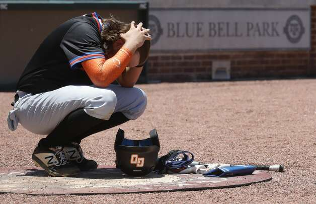 Grand Oaks first baseman Solan Laird takes in the moment after losing to Rockwall 7-1 in Game 2 of a Region III-5A semifinal series at Blue Bell Park, Saturday, May 29, 2021, in College Station. Photo: Jason Fochtman/Staff Photographer / 2021 © Houston Chronicle