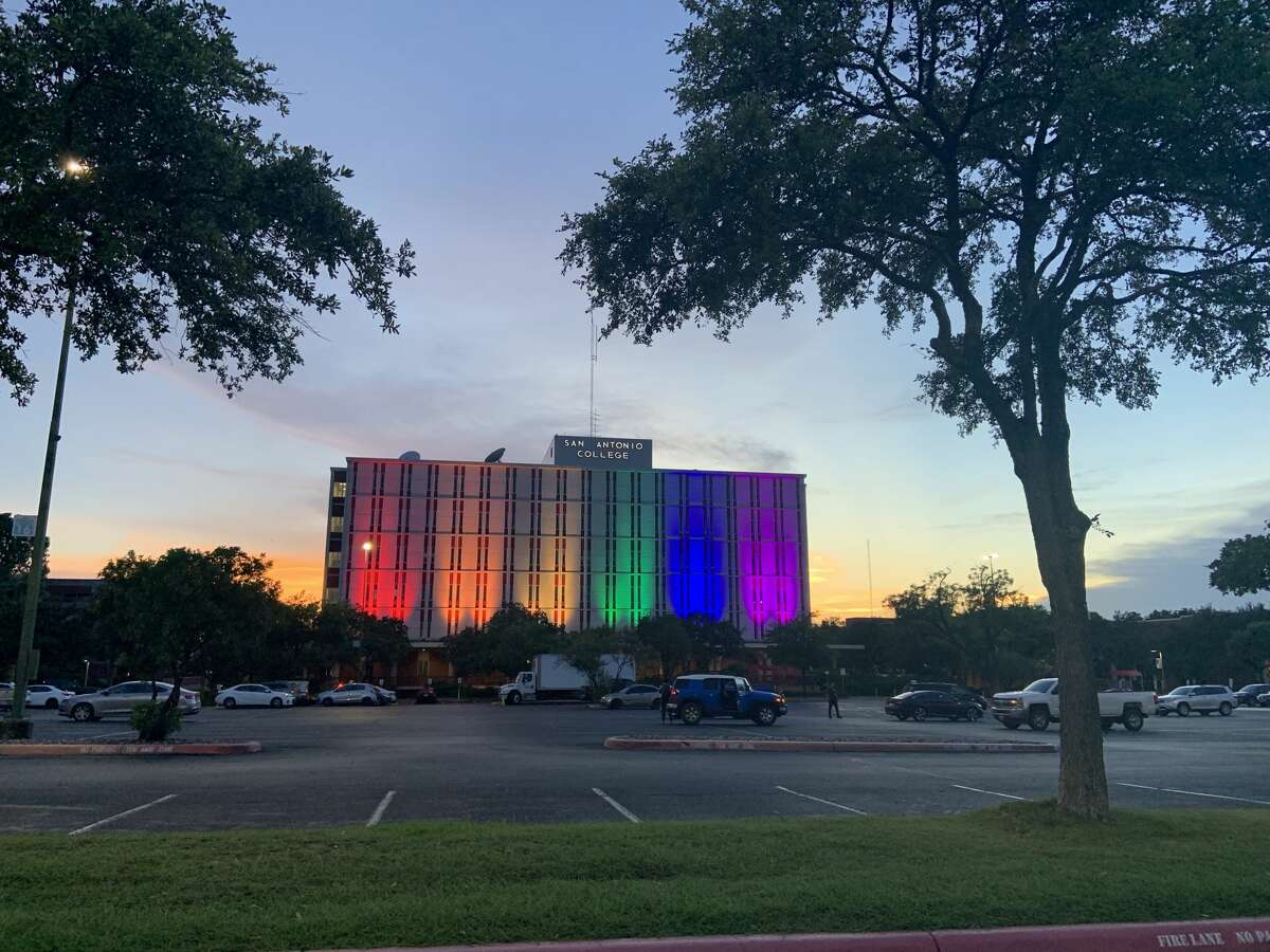 The Moody Building at San Antonio College lit up in rainbow for Pride in 2019.
